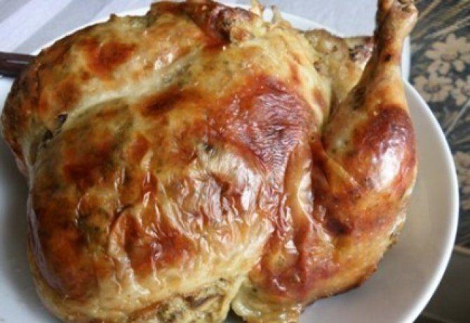 Majorannás gombával töltött csirke