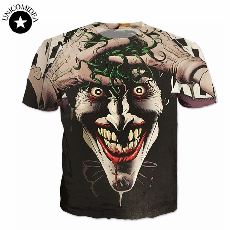 T shirt Men 2017 crazy joker Brand 3D t shirt cute funny  Hip Hop Men's T-shirts Casual Short Sleeve Top Tees  camisetas