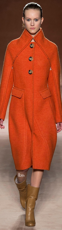 Victoria Beckham Fall Winter 2015-16 RTW orange coat