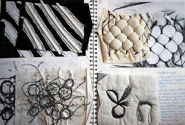 A sketchbook is a place for testing and refining ideas. This page shows experimentation with several textile techniques, such as using a heat press, machine embroidery and boning. This allows a student to demonstrate an understanding of properties of materials and techniques, and to investigate how these can be used to create forms that are relevant to their project. Each of these textile samples are derived from textures observed first-hand. In this case, the absence of colour focuses ...