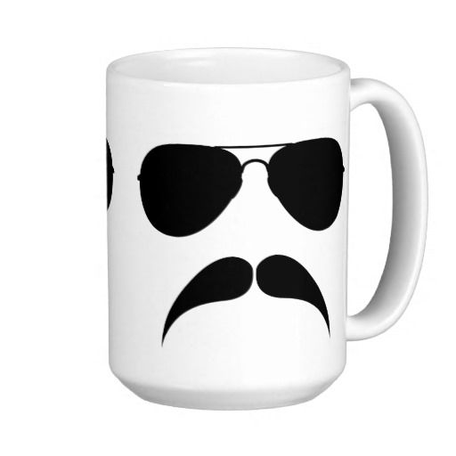 Mustache Aviator Mug Coffee Time Pinterest
