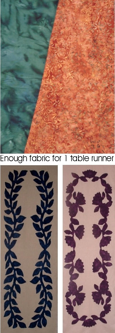 Fabric Plus Pattern Kits: Table Runner -Rust/Teal Fabric+Pattern Maile+Lehua - These two fine hand-dyed fabrics have bee