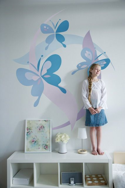 Cute Butterfly Wall Murals Stickers for Teenage Girls Blue Small Bedroom Decorating Design Ideas Teenage Girls Wall Stickers, Best Art for Bedroom Decoration