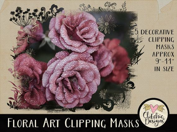 Photoshop Clipping Masks - 5 Floral Flourish Photoshop Photography Masks - Digital Photo Masks by ClikchicDesign #photoshop #graphic #design by Clikchic Designs