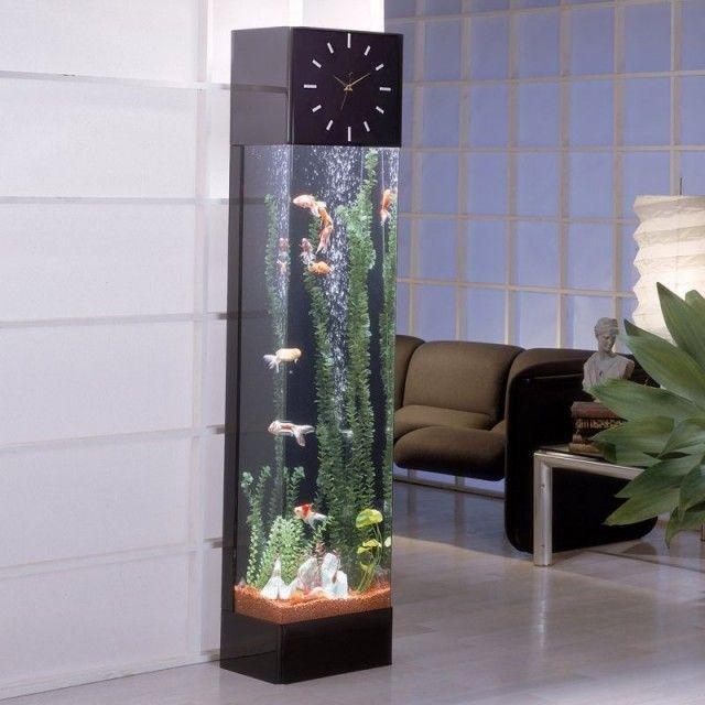 aquarium-maison-horloge-aquarium-colonne-moderne aquarium maison