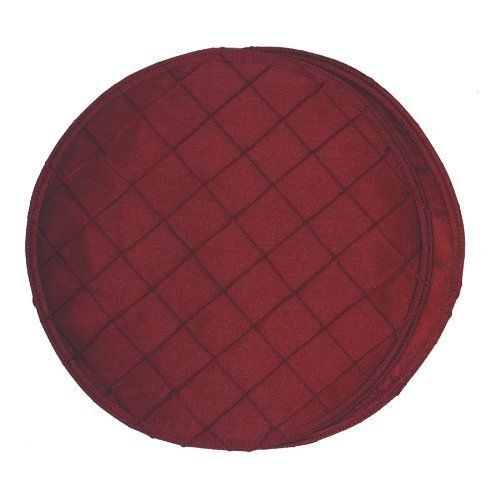 Burgundy Wine Pintucked Charger-Center Round Placemat by Sweet Pea Linens. $6.95. Reversible design.. Measures approximately 13 inches across.. Machine Wash/Dry Flat.. Center Round work great as an accent in the center of either a round or rectangle table or they can be used as a charger on any table. Sold individually.. 100% Polyester outer, with 100% Polyester fill.. Burgundy Wine Pintucked Polyester Shantung Center Round Placemat has same fabric without ...