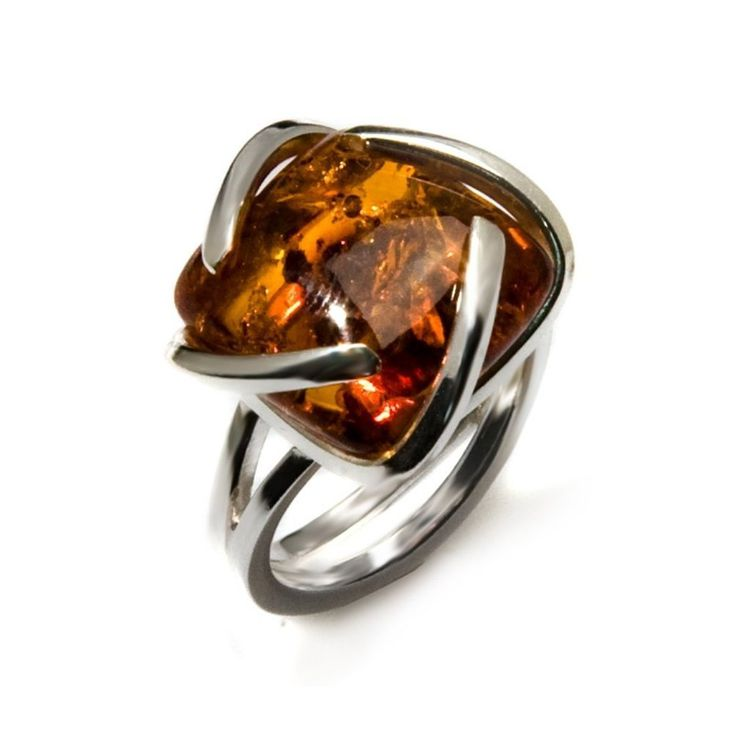 Honey Amber Sterling Silver Universe Ring Size 5,6,7,8,9,10,11,12