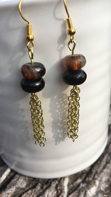 Agate Beaded Earrings with Chain Tassels by PianaltoJewelry on Etsy https://www.etsy.com/listing/536832507/agate-beaded-earrings-with-chain-tassels