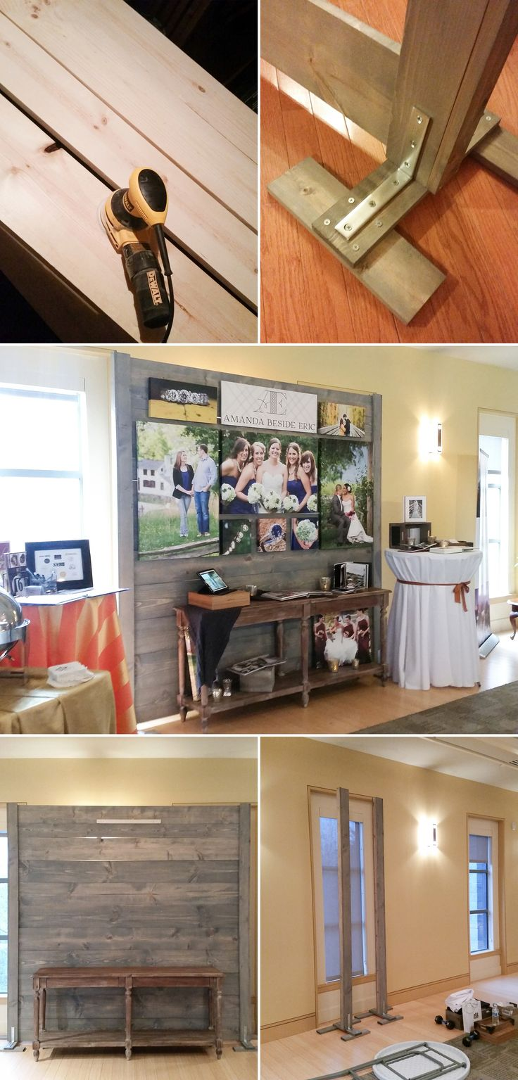 "An easy to build and easy to store bridal show wall made out of wood made by photographers ""Amanda Beside Eric""."