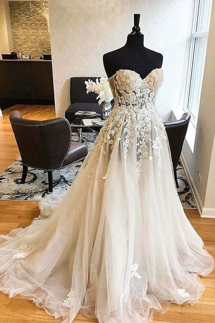 White sweetheart lace applique tulle wedding dress, lace wedding gown, lace bridal dress