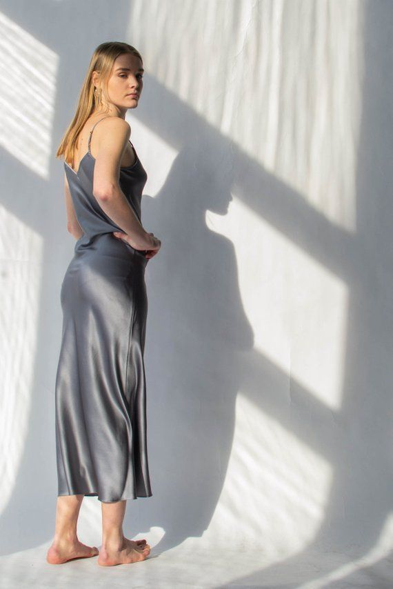 3ccfb971da2b Grey silk slip dress Silk dress with thin straps Gray bias slip ...