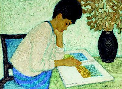 Czene, Béla (1911-1999) Olvasó lány, 1964
