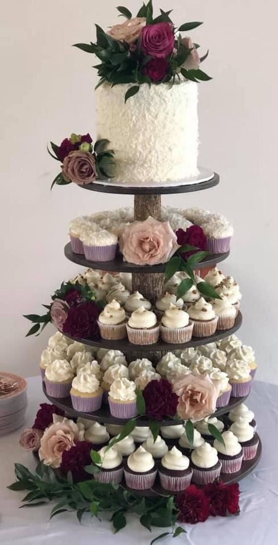 Rustic Cupcake Stand 5 Tier Tower Holder 75 Cupcakes 150 Etsy In 2020 Rustic Cupcakes Floral Wedding Cakes Rustic Cupcake Stands