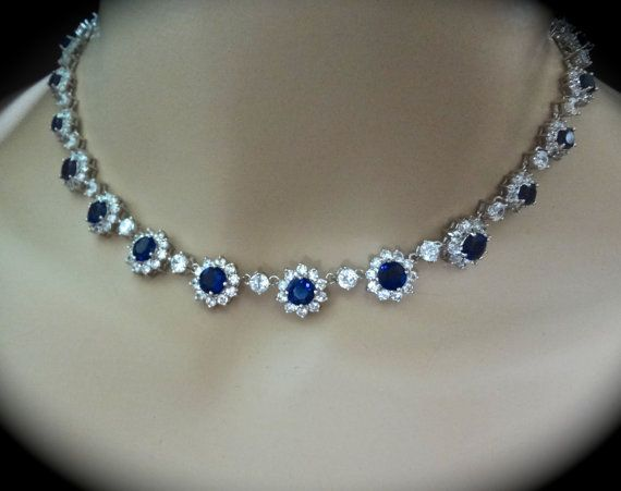 Bridal Jewelry / Blue Sapphire Necklace // by QueenMeJewelryLLC, $139.99