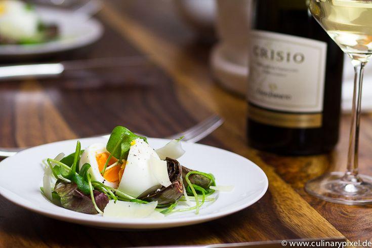 Ostervorspeise: Artischocken, Pecorino, Portulak & Ei, dazu Verdicchio aus dem Oster-Wein-Paket von Wine in Black