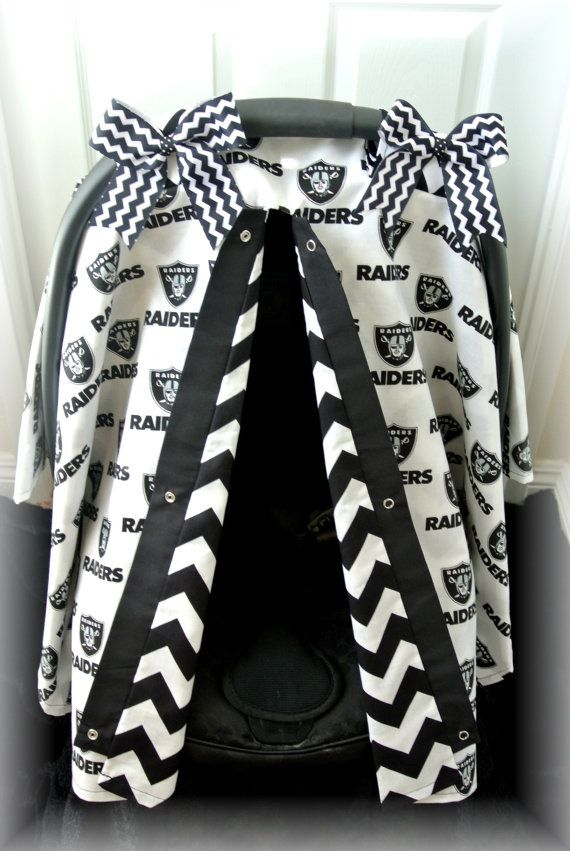 carseat canopy car seat cover RAIDERS football by JaydenandOlivia, $43.99