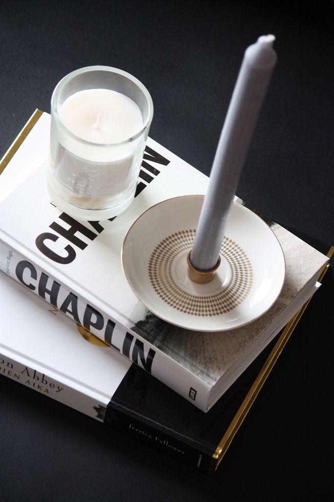 DIY Saucer Candle Holder / Itse tehty kynttilänjalka kahvikupin aluslautasesta