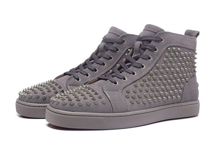 Ya - Men Shoes Grey Casual High Top Breathable Sequins Flats Shoes Rivets Lace-up Couple Shoes