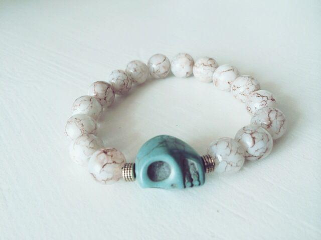 Bracelet with turquoise skull for more information visit: www.violetaberisha.com