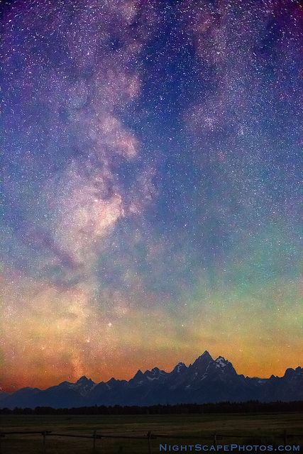 Milky Way Dawn over Grand Tetons