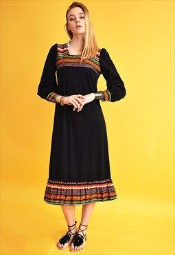 70's retro Mod jazzy striped pattern elegant midi dress