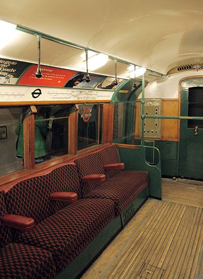 Tube through the decades: Interior of 70's London underground train