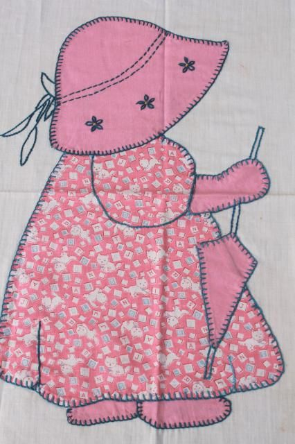 sunbonnet sue quilt blocks | Sunbonnet Sue patchwork applique quilt block, hand embroidered vintage ...