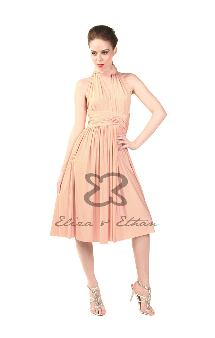 Eliza and Ethan - Multiway - Infinity - Bridesmaids Dresses - OneSize - Short MultiWrap Dress Color: Dusty Peach