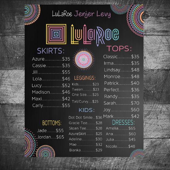 LuLaRoe Price List Poster Custom LuLaRoe by MichelleRayeDesigns