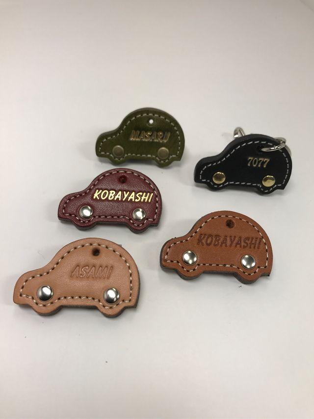 「刻印無料」自動車のヌメ革キーホルダー(3種類の金具、5色革、タイヤ金具3種類からお選び下さい!!)世界最高峰栃木レザーヌメ革の風合い