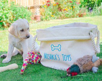 Personalizado perro juguete cesta, bolsa de almacenamiento de juguetes de perro, perro juguete Bin, organizador de juguetes de perro, perro bolsa de aseo, almacenamiento, regalo para los amantes del perro del animal doméstico