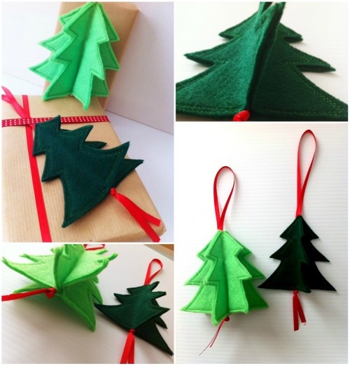 3D ornaments: 3D Shape, Holidays Ornaments, Holiday Ornaments, Felt Ornaments, Felt Trees, Christmas Ornaments, Christmas Trees Ornaments, Felt Christmas Trees, Christmas Tree Ornaments