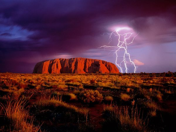 Lightning around Uluru