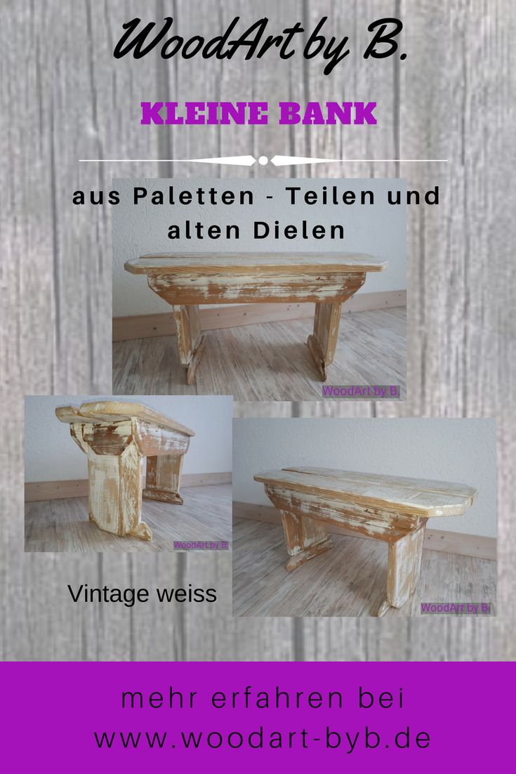 Eine Kleine Bank Aus Paletten Teilen Und Alten Dielen. Vintage Weiss. Ca.