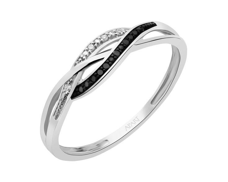 APART - Pierścionek z białego złota z diamentami
