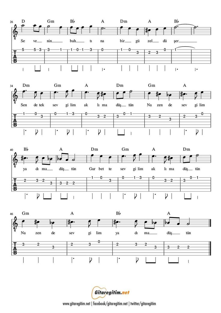 Nazende Sevgilim Gitar Nota Tab Gitaregitim Net Gitar Notalara Dokulmus Muzik Muzik Notalari