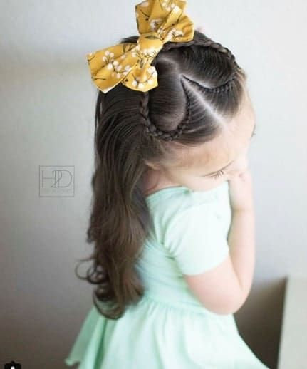 Centre Parted And Heart Braided Hairstyle