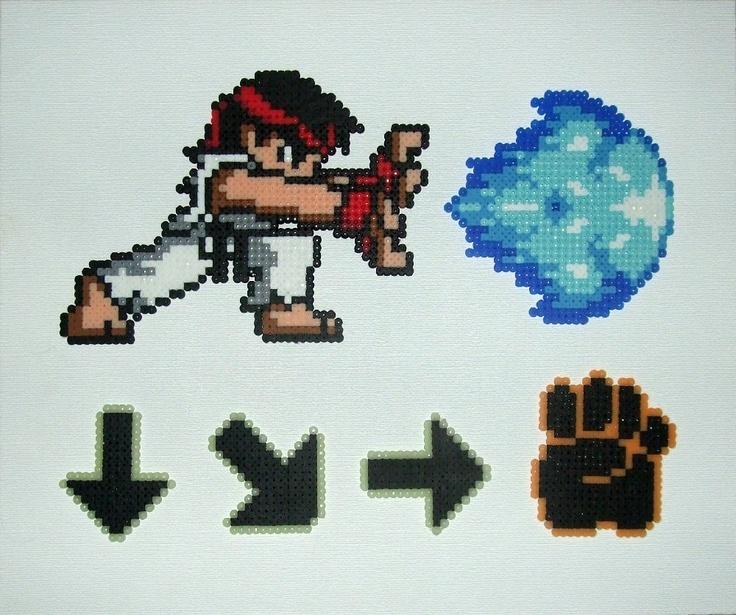 Street Fighter: Ryu Hadouken Perler Wall Art