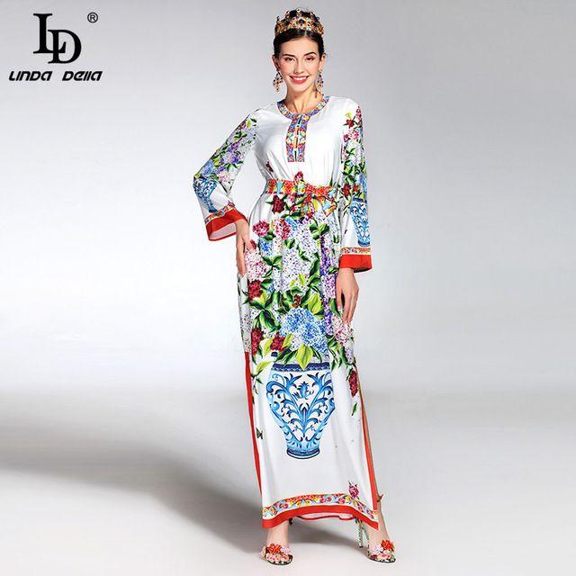 Wysokiej jakości 2017 runway lato maxi dress damska z długim rękawem casual loose gorgeous wazon kwiatów drukowane długi dress