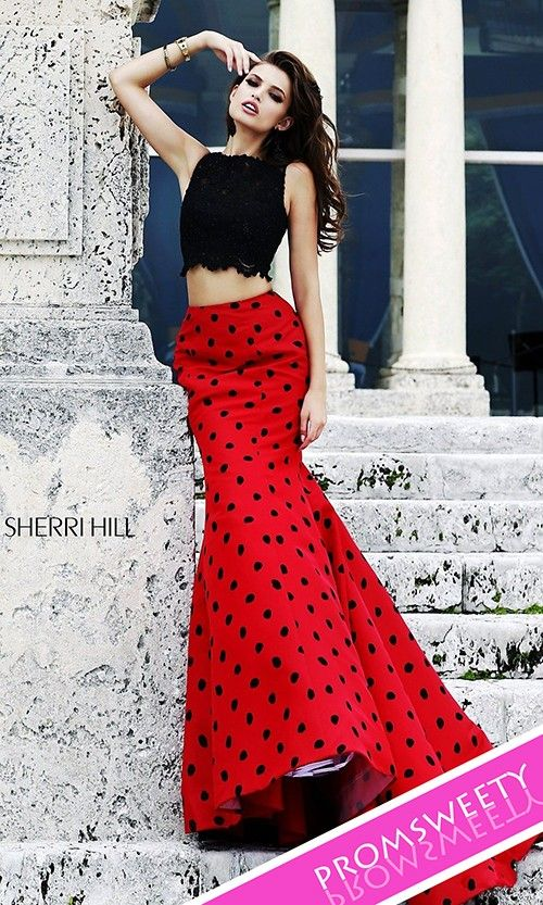 Long Two Piece Polka Dot Black-Red Prom Dress by Sherri Hill 21260