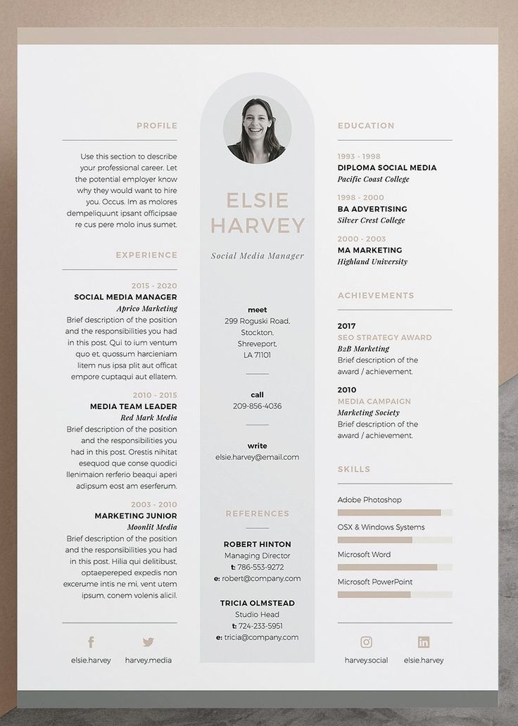 Epingle Sur Design Resume Or Cv