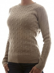 Women's Cable Knit Beige  100 % Cashmere  www.softgoat.com