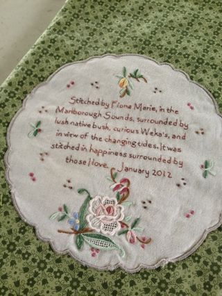 quilt labels made from vintage linens, hankerchiefs or doilies