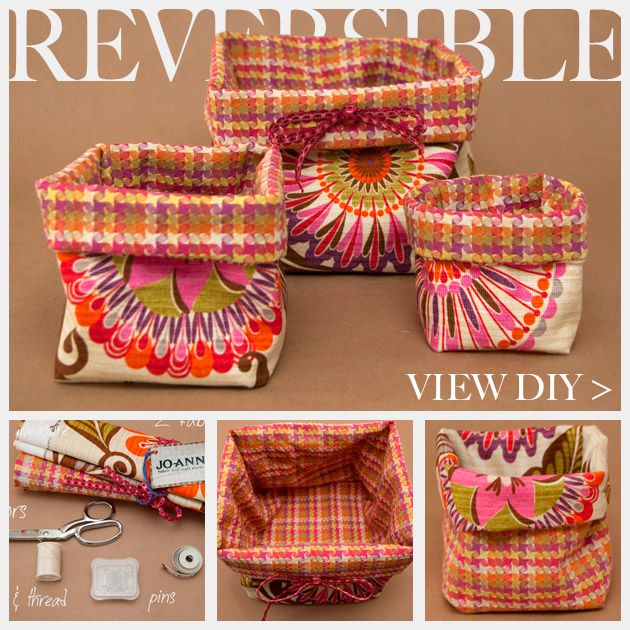 DIY reversible fabric bag. This could actually make a really cute garbage box/bag thing for the car if you put a small plastic bag inside!