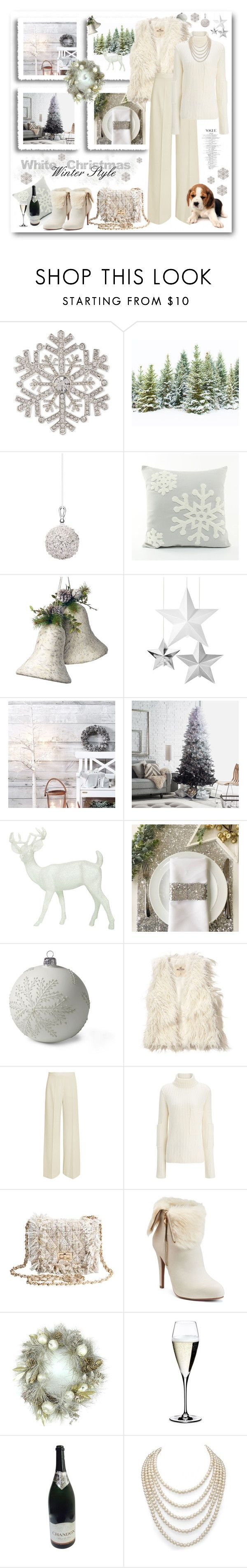 """""""Dreaming of a White Christmas..."""" by pomy22 ❤ liked on Polyvore featuring Anne Klein, Shishi, National Tree Company, Lands' End, Hollister Co., STELLA McCARTNEY, Joseph, Jennifer Lopez, Riedel and DaVonna"""