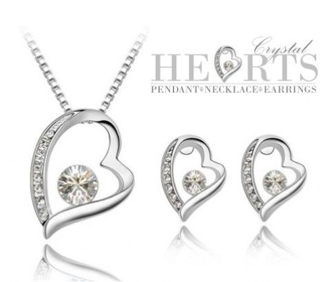 Crystal Heart Pendant, Necklace & Earrings Set. Grab this stunning set of jewellery from #ikOala #jewellery #deals for women that will give her a glamorous look. A perfect piece that will touch her heart. Just $19.00.