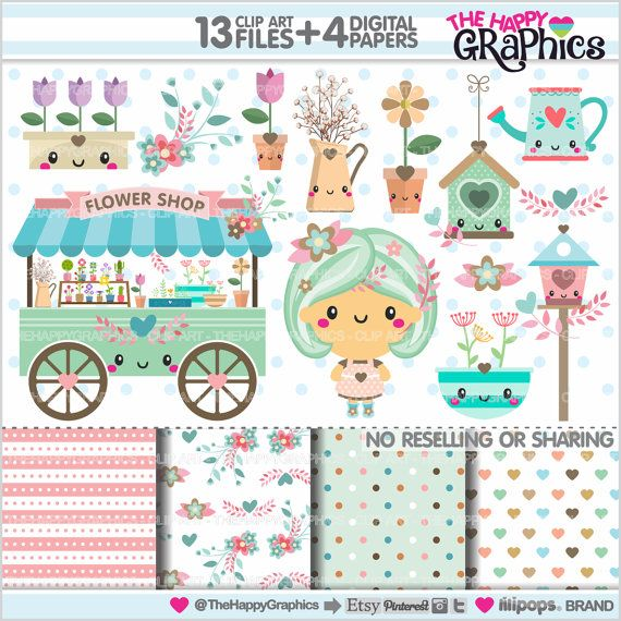 Flower Shop Clipart, Flower Shop Graphics, COMMERCIAL USE, Kawaii Clipart, Spring Clipart, Planner Accessories, Spring Party, Flowers Party