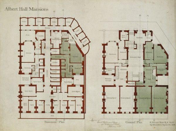 Foyer Albert Barbot Plan : Albert hall mansions norman shaw plans pinterest