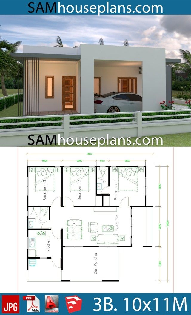House Plans 10x11 With 3 Bedrooms Sam House Plans Affordable House Plans Modern Style House Plans Guest House Plans House plans with small guest house