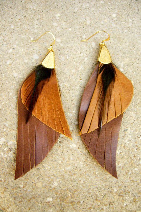 Long Earrings Leather Jewelry Bohemian Wings Leather by zozichic, $60.50